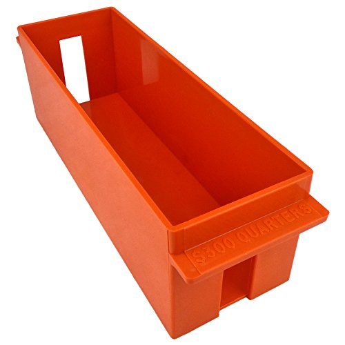 (Extra-Capacity Rolled Coin Plastic Storage Tray, Quarters, Orange (2 Trays))