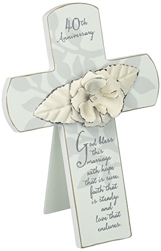 Enesco This is the Day by Gregg Gift 40th Anniversary Rose Whitewash Cross Wall Décor, 7