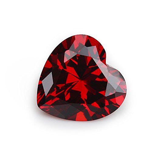 50PCS Size 3x3~12x12mm AAAAA Garnet Heart Shape Europe Machine Cut Loose Cubic Zirconia CZ Stone For Jewelry Diy (6x6mm 50pcs) (Loose Cz Stones)