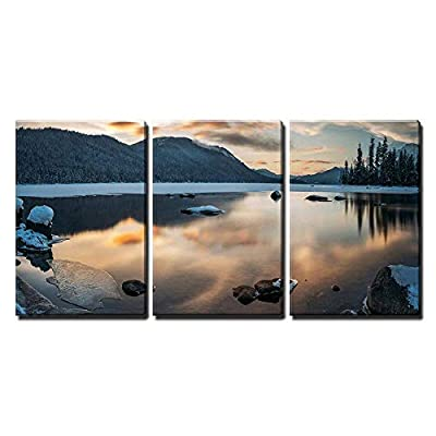 Charming Visual, Winter Landscape with Lake and Mountain x3 Panels, Made With Top Quality