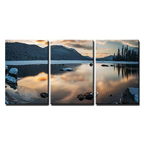 Winter Landscape with Lake and Mountain x3 Panels