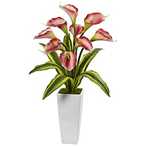 Nearly Natural Calla Lilies with Tropical Leaves Silk Arrangement Pink 71