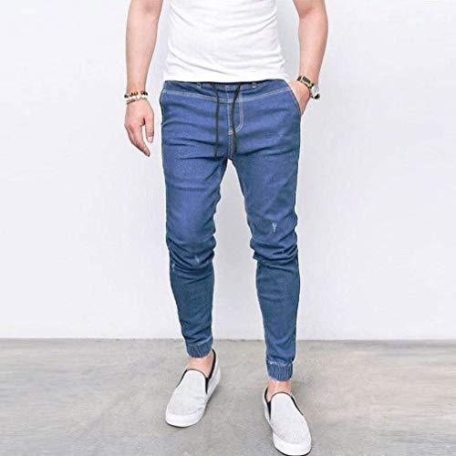 Fashion Da Hellblau Uomo Fit Slim Skinny Pantaloni Chino Jeans Jeasns p5qw0