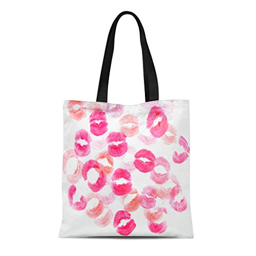 (Semtomn Cotton Canvas Tote Bag Pink Attractive Cosmetics Beauty Charm Color Female Glamour Kiss Reusable Shoulder Grocery Shopping Bags Handbag Printed)