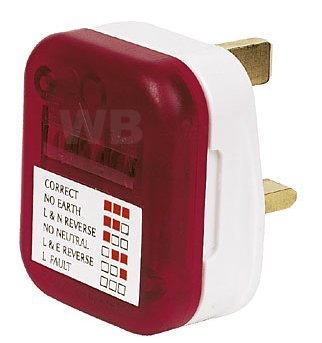 AMOS UK 240v 13A AMP Mains Power Electric Socket Safety Tester Plug Adapter Adaptor Polarity