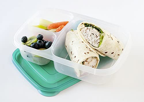 EasyLunchboxes 3-Compartment Bento Lunch Box Containers, Set of 4, Brights