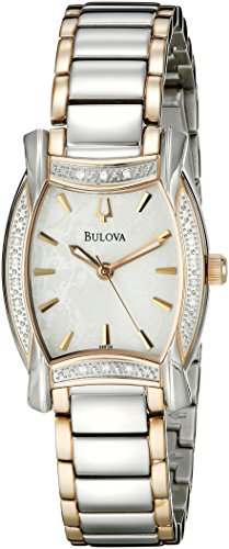 Bulova Women's 98R138 Diamond Case White Dial Bracelet Watch (Tonneau White Bracelet)