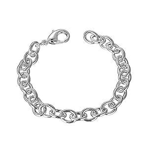 AOVR Fashion Link Bracelet Men's 925 Sterling Silver Plated Coarse Chains Bracelets