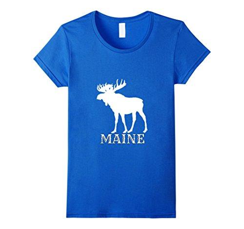 Womens Maine Moose Tshirt Medium Royal Blue