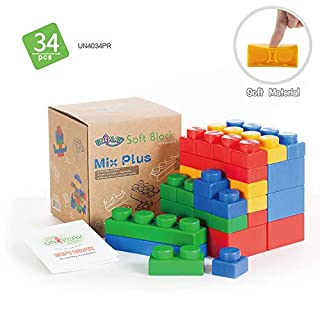 UNiPLAY Mix Plus Soft Building Blocks with 5 Different Sizes for Ages 3 Months & Up Toddler and Baby Developmental, Educational, Creative Toy-34 Pieces Set