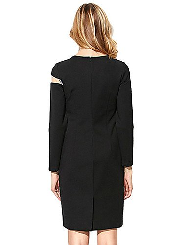 PU&PU Robe Aux femmes Gaine Sexy / Simple,Fleur Col Arrondi Mi-long Polyester , black-xl , black-xl