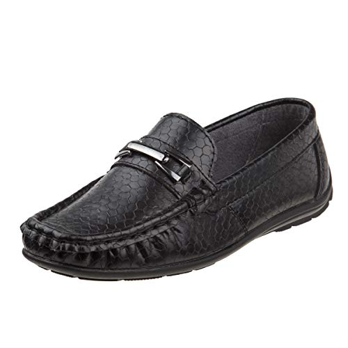Josmo Boys Casual Driving Slip-on Shoe (Toddler, Little Kid, Big Kid) (10 M US Toddler, Black Crocodile)'