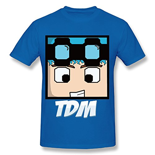 Dan TDM Face Cotton Round Neck Tee Shirt RoyalBlue - Time Usps Deliver To