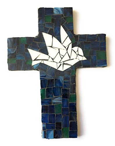 - Handcrafted Mosaic Dove Wall Cross, Ivory, Green and Blue stained glass with charcoal colored grout
