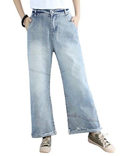 Leg Rise Mid Jeans Wide (SUGIRLS Women's Casual Distressed Flares Mid-Rise Wide Leg Jeans Denim Pants L)