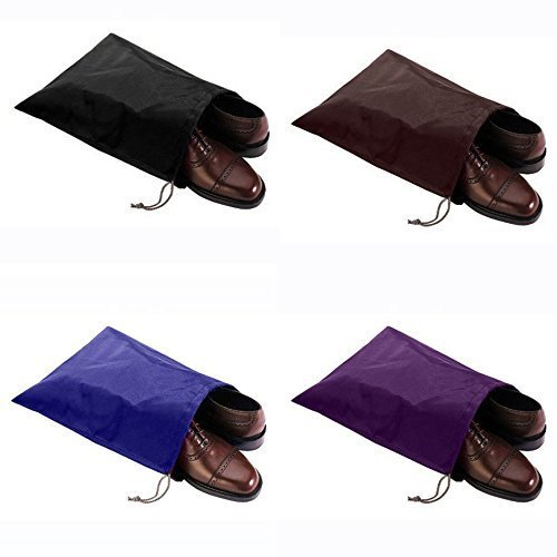 (HugeSaving High Quality Nylon Waterproof Travel Shoe Bags Drawstring Shoes Bag For Carrying Set Of 4)