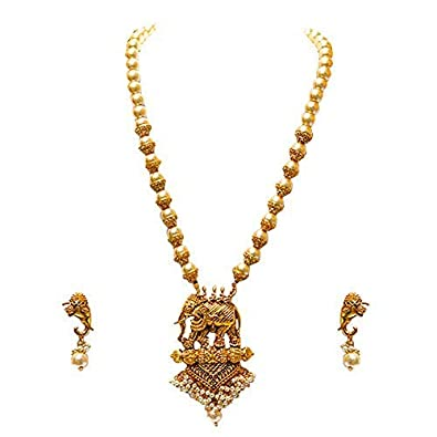 3f6c9f62f82 Buy LookEthnic Antique Hathi Design Necklace for Women (Golden) Online at  Low Prices in India | Amazon Jewellery Store - Amazon.in