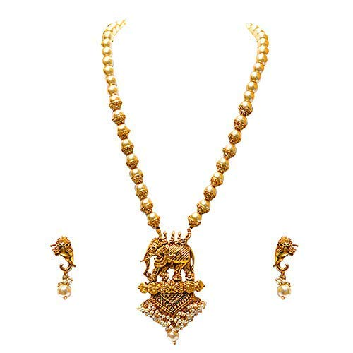 f5c2ab95496 Buy LookEthnic Antique Hathi Design Necklace for Women (Golden) Online at  Low Prices in India