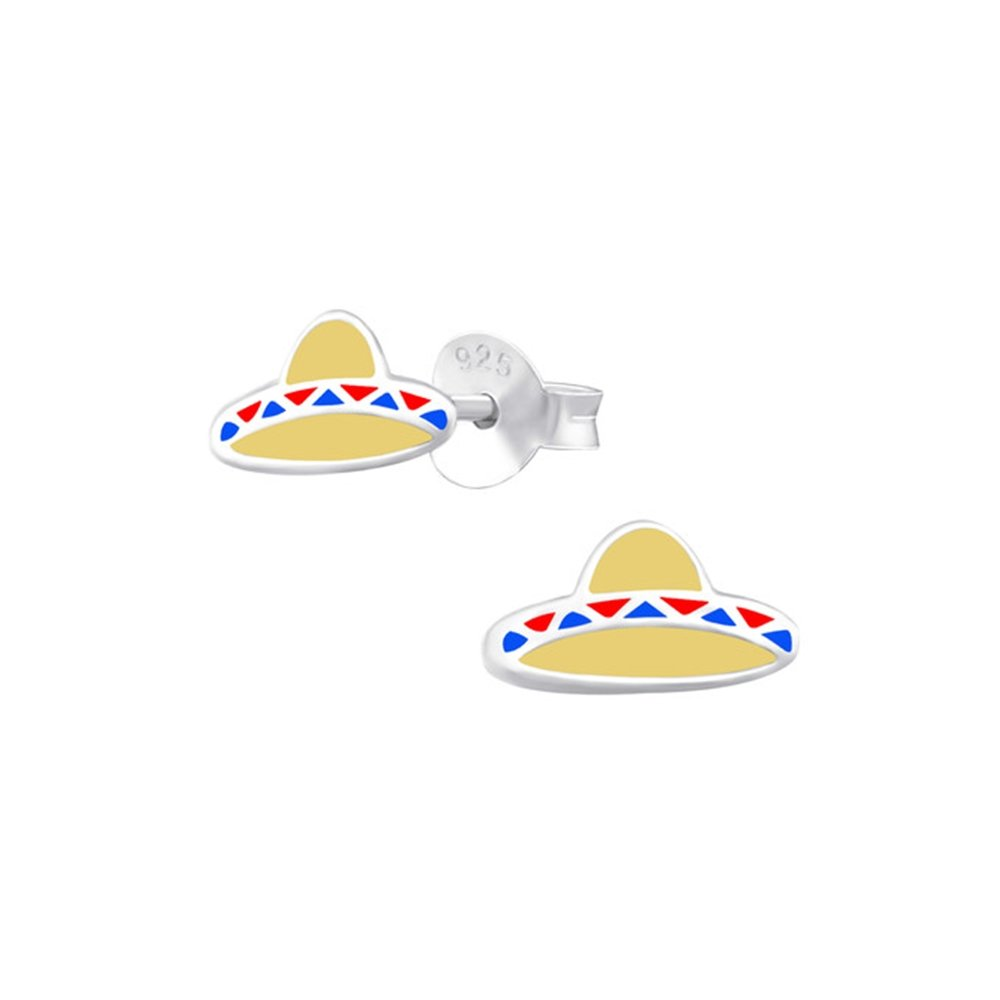 Girls Sombrero Colorful Ear Studs 925 Sterling Silver