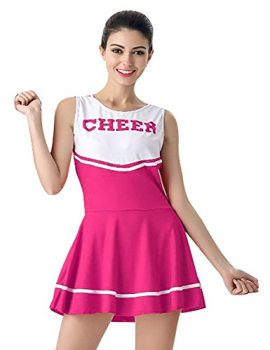 Womens' Cheerleader Costume Mini Skirt Fancy Dress Uniform , Rose Red