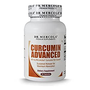 Dr. Mercola Curcumin Advanced - 500 mg 30 Capsules - MicroActive® Technology Capsule - Sustained Release for Maximum Absorption - Helps Maintain Prostate Health, Brain Health, and Gallbladder Function