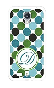 iZERCASE Monogram Personalized Green Black Turquoise Polka Dots Pattern RUBBER Samsung Galaxy S4 Case - Fits Samsung Galaxy S4 T-Mobile, AT&T, Sprint, Verizon and International (White)