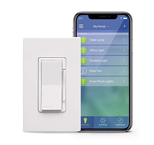Leviton DW6HD-1BZ Decora Smart Wi-Fi 600W Incandescent/300W LED Dimmer, No Hub Required, Works with Alexa, Google Assistant and Nest ()