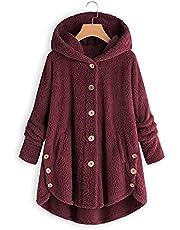 Höst och vinter Varm jacka Mode Kvinnor Button Coat Plyschjacka Dam Oregelbunden enfärgad jacka