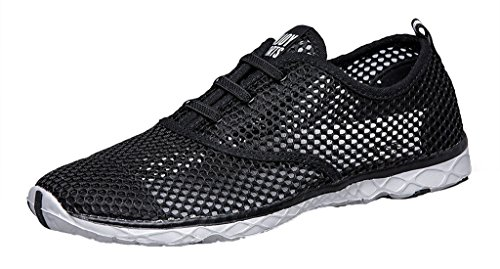 Womens Mesh Lace-up Quick Dry Aqua Water Shoe Nero
