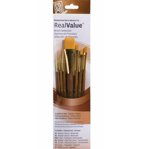 Princeton Brush-Princeton Series 9000 Brown Handled Brush, Set of 7, for Acrylic, Oil and Watercolor-Mixed Media Paintbrushes (Flat Shader Golden Taklon Brush)
