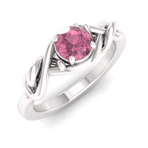 - Diamondere Natural and Certified Pink Tourmaline Engagement Ring in 14K White Gold | 0.41 Carat Pink Tourmaline Knot Solitaire Ring for Women, US Size 5
