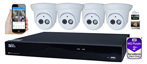 Kenuco H.265 8CH 4MP Megapixel 8 PoE 1520P Network Video Recorder | No HDD | 4x 4MP Megapixel PoE Turret IP - Uniview Vision