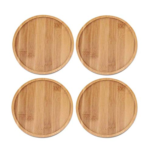 TOUCH MISS 6.1 Inch Round Bamboo Plants Saucer for Pot Sandy Beige Pack of 4 Brand:TOUCH MISS