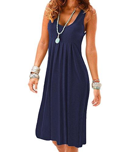 VERABENDI Women's Summer Casual Sleeveless Mini Plain Plated Tank Dresses Navyblue M
