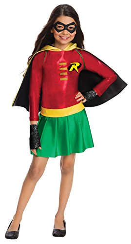Dc Fancy Dress Costumes (Rubie's Costume Boys DC Comics Robin Dress Costume, Large, Multicolor)