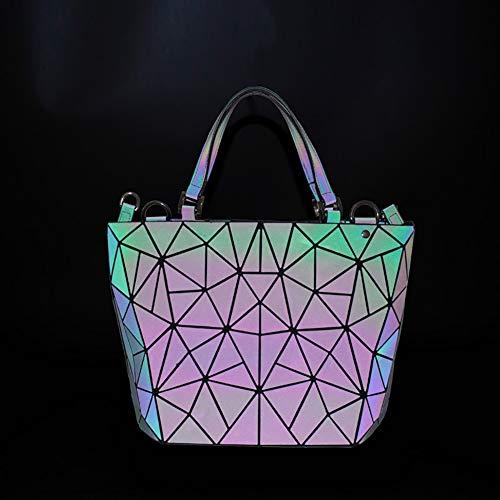 Main 1 Pour Coloré Lumineux Géométrique À Nightglowing Sac Bandoulière Tote Femmes Dames vistoso Sacs Mode Rhombic CqZz7