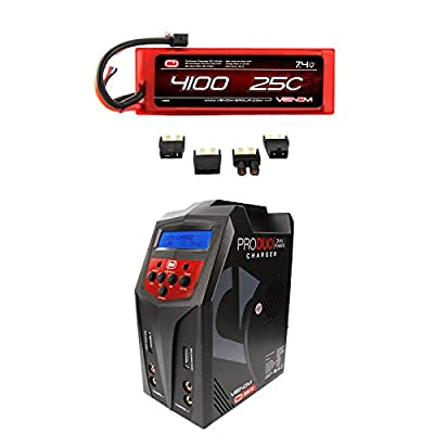 Venom 25C 2S 4100mAh 7.4 Hardcase LiPo Battery with Universal Plug and Venom Pro Duo 80W X2 Dual AC/DC 7A LiPo & NiMH RC Battery Balance Charger Money Saving Combo