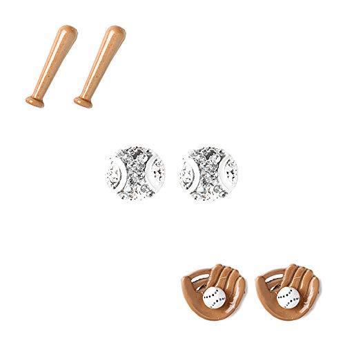 - Claire's Girl's Baseball, Mitt & Bat Stud Earrings - 3 Pack