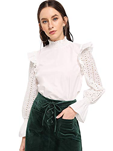 59b344b5de45c SheIn Women s Elegant Mock Neck Eyelet Hollow Out Ruffle Sleeve Blouse Shirt  Tops