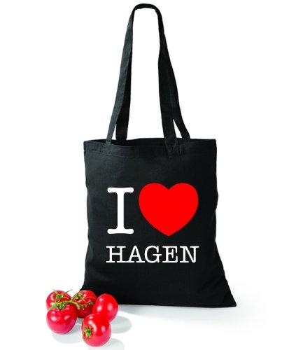 Artdiktat Baumwolltasche I love Hagen Schwarz