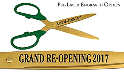 "Pre-Laser Engraved ""GRAND RE-OPENING 2017"" 25"" Gold Ceremonial Ribbon Cutting Scissors"