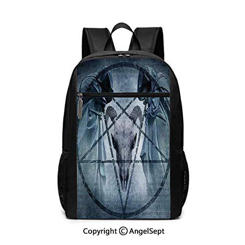 Fashion School Backpack,Artwork with Pentagram Icon Goat Skull Devil Dream Hoody Figure Exorcist Image,Blue,6.5