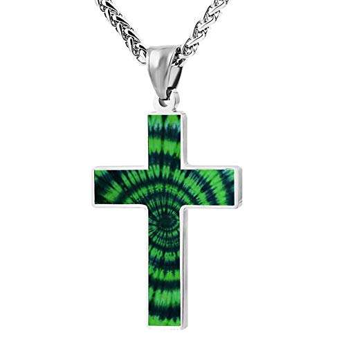 KOUY Christian Cross Pendant Necklace,Green Tie dye Religious Jewelry for Men and Women (24 -