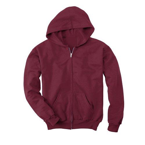 Youth Hoodie Maroon (Hanes Big Boys' Comfortblend EcoSmart Full-Zip Hoodie _Maroon_L)