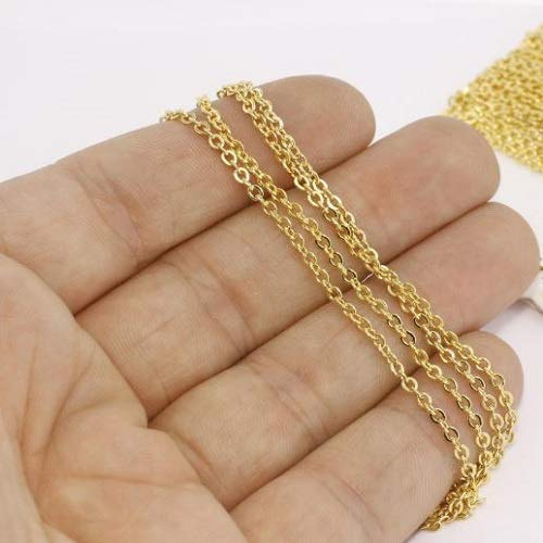 (Gold Plated Flat Rolo Chains/Soldered Chains/ 3,3 Feet 2x3mm 24k Shiny Gold Cable Chains)