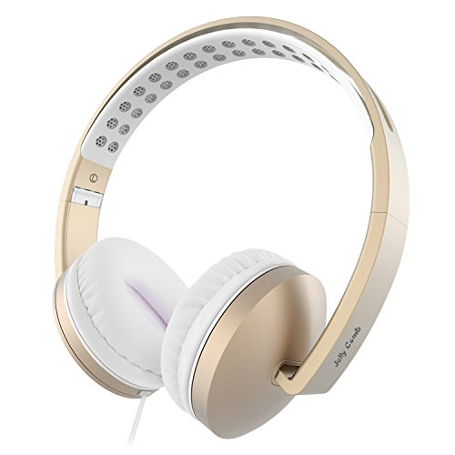 On Ear Headphones with Mic, Jelly Comb Foldable Corded Headphones Wired Headsets with Microphone, Volume Control for Cell Phone, Tablet, PC, Laptop, MP3/4, Video Game (White & Gold)