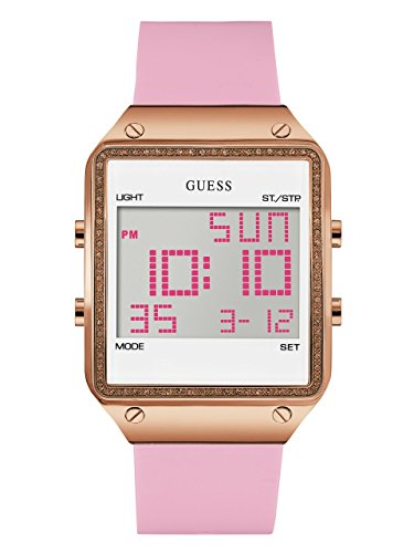 GUESS  Rose Gold-Tone Pink Digital Stain Resistant Silicone Watch. with Day, Date, 24 Hour Military/Int'l Time, Dual Time Zone + Alarm. Color: Pink (Model: U0700L2) ()