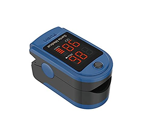 Santamedical Generation 2 Fingertip Pulse Oximeter Oximetry Blood Oxygen Saturation Monitor with carrying case, batteries and lanyard - (Pulse Oximeter Digital)