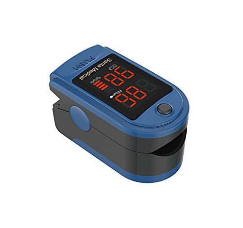 ion 2 Fingertip Pulse Oximeter Oximetry Blood Oxygen Saturation Monitor with carrying case, batteries and lanyard - Blue (Pulse Oximetry)