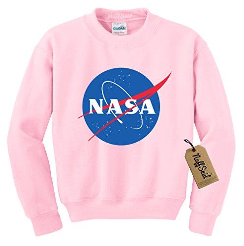 NuffSaid NASA Worm Logo Crewneck Sweatshirt Sweater Pullover - Unisex Crew (2XLarge, Light Pink)
